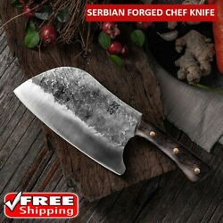 Hunters Serbian Forged Chef Knife Kitchen Steel Knives Butcher Cleaver Cooking $26.99