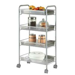 Large Kitchen Trolley Cart Rolling 4 Tier Mesh Storage Rack Trolley with Wheel $49.99