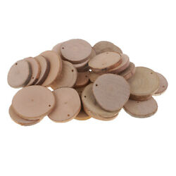 30 Pieces Unfinished Predrilled Natural Wood Slices DIY Rustic Decorations $10.07