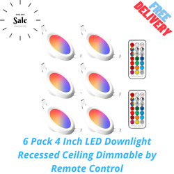 6 Pack 4 Inch LED Downlight Recessed Ceiling Dimmable by Remote Control $53.99