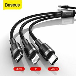 Baseus 3 in 1 USB To Type C Micro USB Charger Cable Charging Lead For iPhone LG $3.67