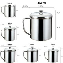 Water Stainless steel Cup Milk Coffee Home Outdoor Tumbler With Handle $10.48