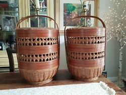 PAIR MID CENTURY BASKET TABLE LAMPS WICKER RATTAN ATOMIC VTG 70#x27;S RETRO Chinese $450.00