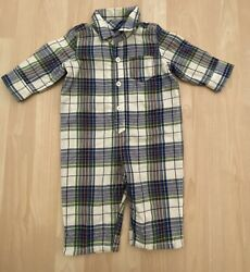 Boys 3 6 Months Baby Gap Blue Green Yellow Plaid Long Outfit Soft Jersey Lined $7.99
