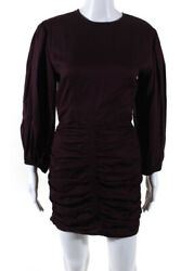 Rhode Womens Back Zip Crew Neck Ruched Sasha Dress Red Size Small $97.01