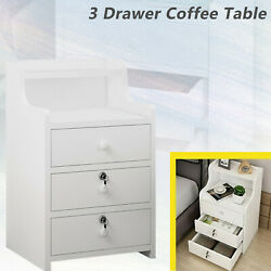 Simples End Table Bedroom Nightstand 3 Drawers Coffee Table With Lock Cabinet $39.99