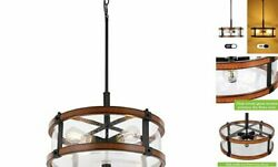 4 Lights Drum Chandelier Farmhouse Rustic Chandelier Lighting with 4 Lights $73.07