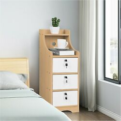 Bedside Table End Table Bedroom Nightstand Coffee Table 3 Drawer W Lock Cabinet $50.59