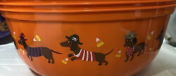 Halloween Candy Bowl Plastic Large Orange Black Dixie Dog Red Brown Dachshunds $10.00