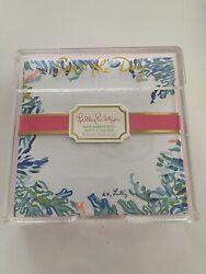 Lilly Pulitzer NOTE SHEETS PAPER WITH ACRYLIC HOLDER Featured in Catch The Wave $19.95