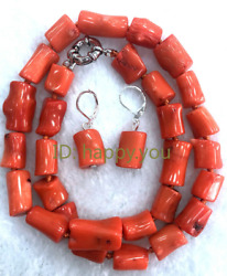 Natural 10x13mm Orange Coral Cylindrical Pendant Necklace Earring Set 18 inches $15.99