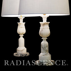 PAIR LG NEO CLASSIC MARBLE FRENCH COLUMNS HOLLYWOOD REGENCY MODERN lamps 1950s $740.00