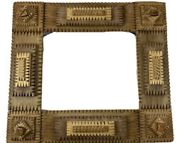 TRAMP ART FRAME Four 4 Layers Notch Carved Wood 11 x 9.5 Hanging ANTIQUE $186.20