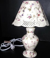 BRAND NEW Country Meadows porcelain lamp. Small accent cream and multicolor. $109.00