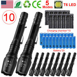 10Pack Zoom 990000LM Zoom LED Flashlight Rechargeable Battery Torches Charger $16.79
