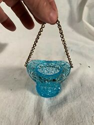Vtg Hanging Oil Lamp Burnt Matches Holder Blue Glass Buttons and Bows pattern $45.00