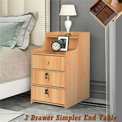 3 Drawer Simples End Table Coffee Table Bedroom Nightstand With Lock Cabinet $34.28