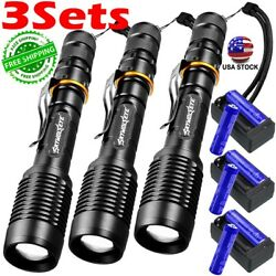 SKYWOLFEYE 990000LM Zoom 5 Modes LED Flashlight Rechargeable Battery Charger $16.79