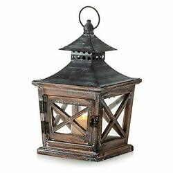Wooden Candle Lanterns Decorative 10.6in Height Rustic Hanging Small Brown $39.83