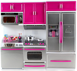 My Modern Kitchen Full Deluxe Kit Playset Refrigerator Stove Sink Microwave Pink $45.99