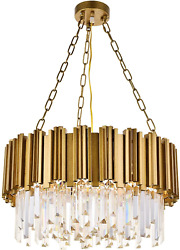 A1A9 Modern Round Crystal Chandelier Lights Luxury Pendant Ceiling Light Fixture $446.09