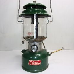 Vintage Coleman Lantern Model 220F 228F Green With Pyrex Globe Dated 4 69 $25.95