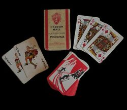 Vintage Art Deco Red amp; White Man Woman Winter Snow Downhill Skiers Playing Cards $22.99