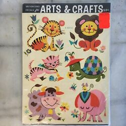 Vintage Decals Arts and Crafts Smile Animals Cat Turtle Cow The MEYERCORD Co. $17.00