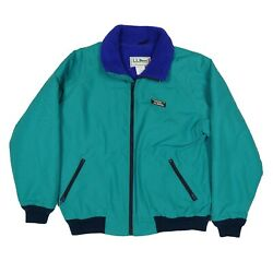 Vintage LL Bean Warm Up Jacket Size L Green Full Zip Fleece Lined Made In Usa $25.00