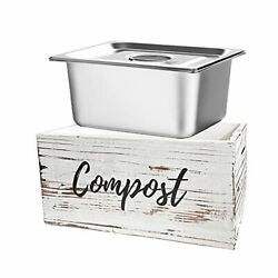 Rustic Kitchen Compost Bin Wooden Compost Container with Stainless Large $59.21