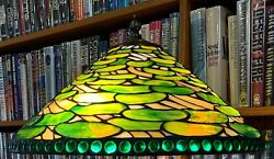 Antique Tiffany Studios Reproduction Lily Pad Leaded Glass Lamp Shade Handel $1600.00