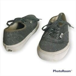 Vans Off The Wall Girls 3 Gray Sparkly Glitter Lace Up Canvas Sneakers Shoes $24.99