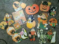 Vintage Beistle Co Halloween wall decorations Lot witch ghost skeleton witch $45.00