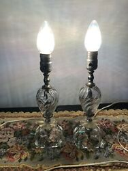 Pair Of Vintage quot;Mid Centuryquot; Glass Small Table Lamps. 12quot;. No Shades $79.00