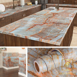 Livelynine Dark Marble Wall Paper Kitchen Countertop Peel and Stick 15.8x78.8″ $15.26
