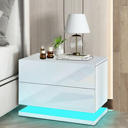 Modern Bedroom Nightstand LED Light High Gloss w 2 Drawers Bedside End Table $96.00