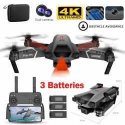 4K HD RC Drone WiFi Quad copters Infrared Induction Obstacle Avoidance 3 Battery $59.99