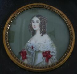 French Antique Hand Painted Miniature Bust Of A Lady With Curls Wood Frame $180.00