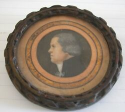French Antique Hand Painted Miniature Head Of A Man Wood Frame $70.00