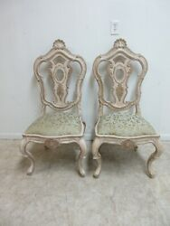 Pair Century Furniture Highly Carved French Dining Room Side Chairs B $799.00