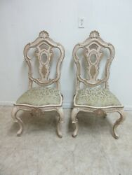 Pair Century Furniture Highly Carved French Dining Room Side Chairs A $799.00