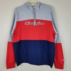Champion L Gray Red amp; Blue Colorblock Pullover Sweatshirt With Hoodie $38.99