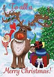 Elves and Reindeers Merry Christmas Garden Flag 12quot;x18quot; Custom Decor 2 Sided $12.95