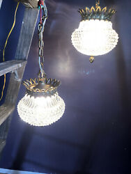 Vintage Hanging Double Swag Light Fixture Clear Cut Glass Globes 2Ceiling Ligh $450.00