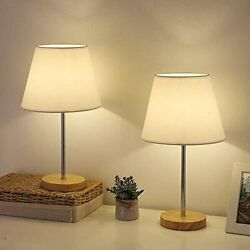 MOOACE Modern Bedside Lamps Set of 2 Small Table Lamps Wooden Base Linen Shad... $55.15
