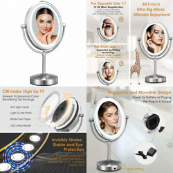 Professional 8#x27;#x27; Lighted Makeup Mirror VESAUR Oval 7X Magnifying LED Vanity... $55.49