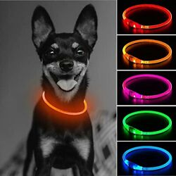 GLOW USB Rechargeable LED Dog Collar Light Up Dog Collars Glow in The Orange $15.17