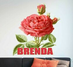 Rose Flower Custom name wall decal personalized rose sticker personalized decal $19.99