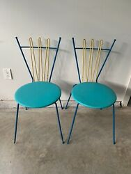 MID CENTURY MODERN WROUGHT IRON HAIRPIN PARLOR CHAIRS 2 FREDERICK WEINBERG ? $500.00