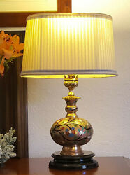 Engraved Vintage Brass Lamp with Lampshade Ideal for small spaces GBP 85.00